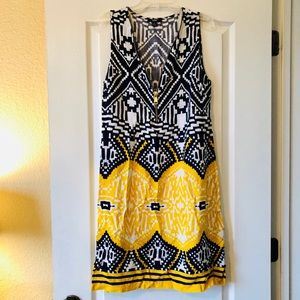 Navy and yellow summer dress